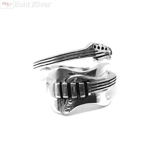 ZilverVoorJou Zilveren electrische gitaar ring