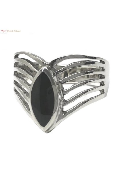 Zilveren markies zwarte steen ring