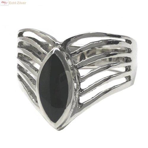ZilverVoorJou Zilveren markies zwarte steen ring