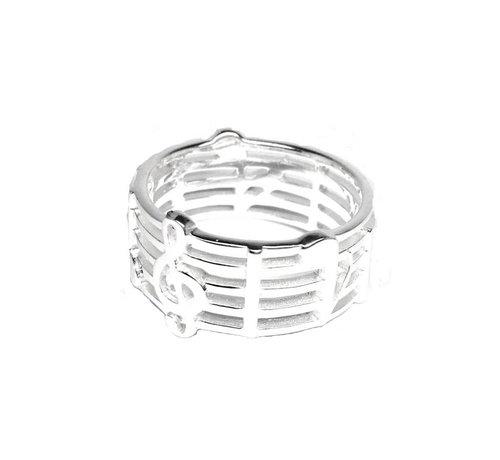 ZilverVoorJou Zilveren notenbalk muziek ring