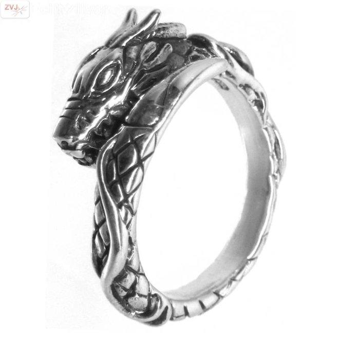 Zilveren draak ring