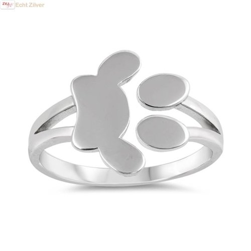 ZilverVoorJou Zilveren pootafdruk ring