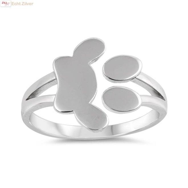 Zilveren pootafdruk ring