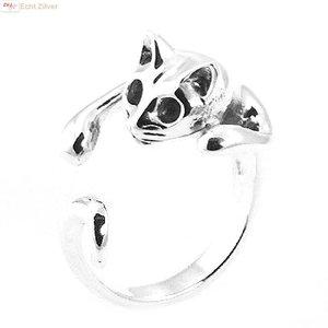 ZilverVoorJou Zilveren open poes / kat ring, zeer leuk!