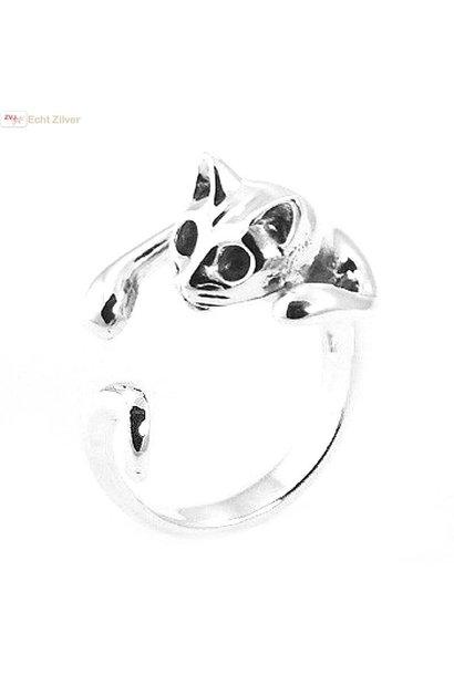 Zilveren open poes / kat ring, zeer leuk!