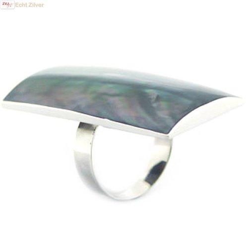 ZilverVoorJou Zilveren zeer grote rechthoek abalone paua schelp ring