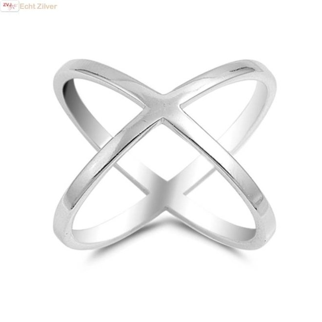 Zilveren criss cross ring