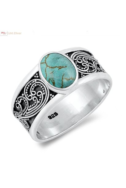 Zilveren natuurlijke turquoise ring