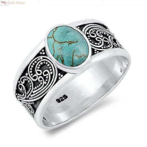 ZilverVoorJou Zilveren natuurlijke turquoise ring