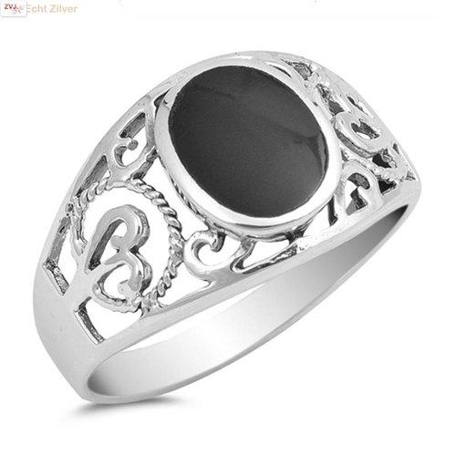 ZilverVoorJou Zilveren ring met zwarte ovale zwarte onyx steen