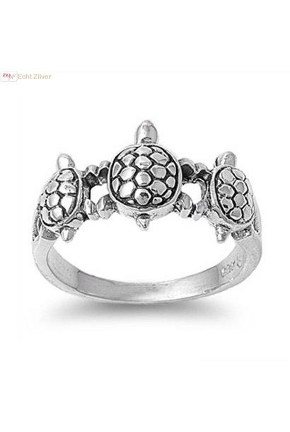 Zilveren 3 schildpadden ring