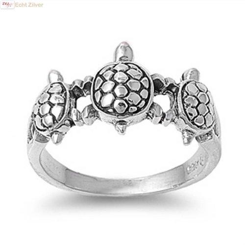 ZilverVoorJou Zilveren 3 schildpadden ring