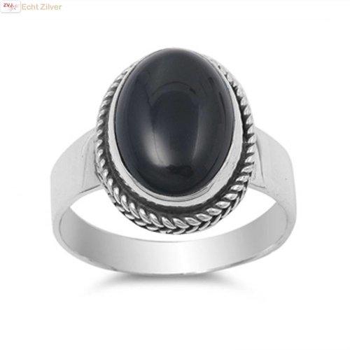 ZilverVoorJou Zilveren ovale zwarte onyx steen ring