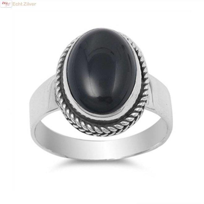Zilveren ovale zwarte onyx steen ring