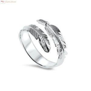 ZilverVoorJou Zilveren trendy verstelbare veer ring