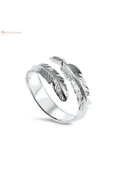 Zilveren trendy verstelbare veer ring