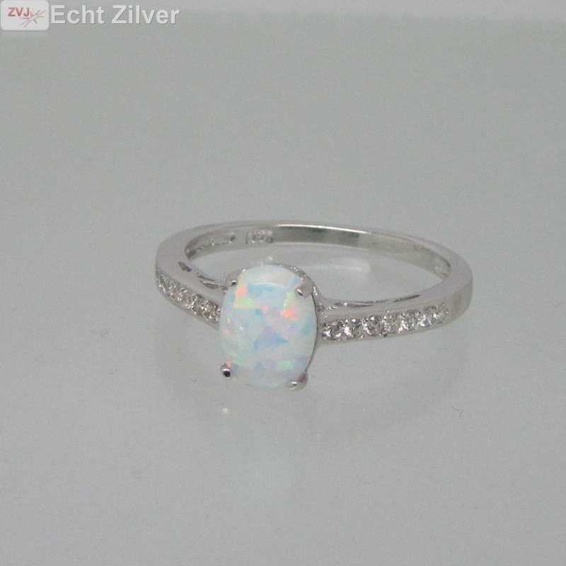 925 sterling zilveren rhodium ring ingelegd met witte opaal-3