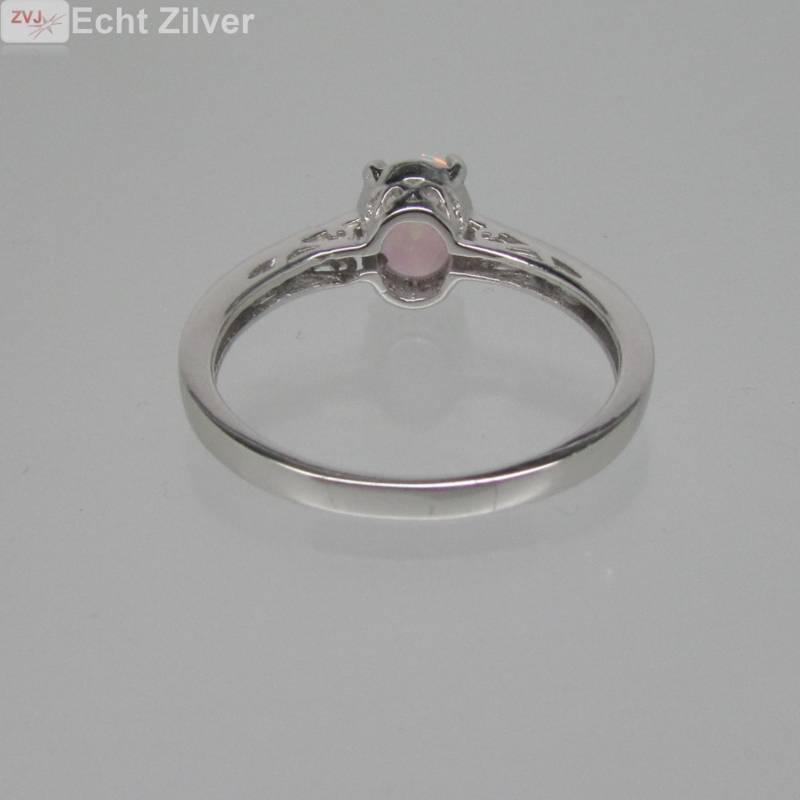 925 sterling zilveren rhodium ring ingelegd met witte opaal-4