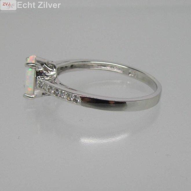 925 sterling zilveren rhodium ring ingelegd met witte opaal