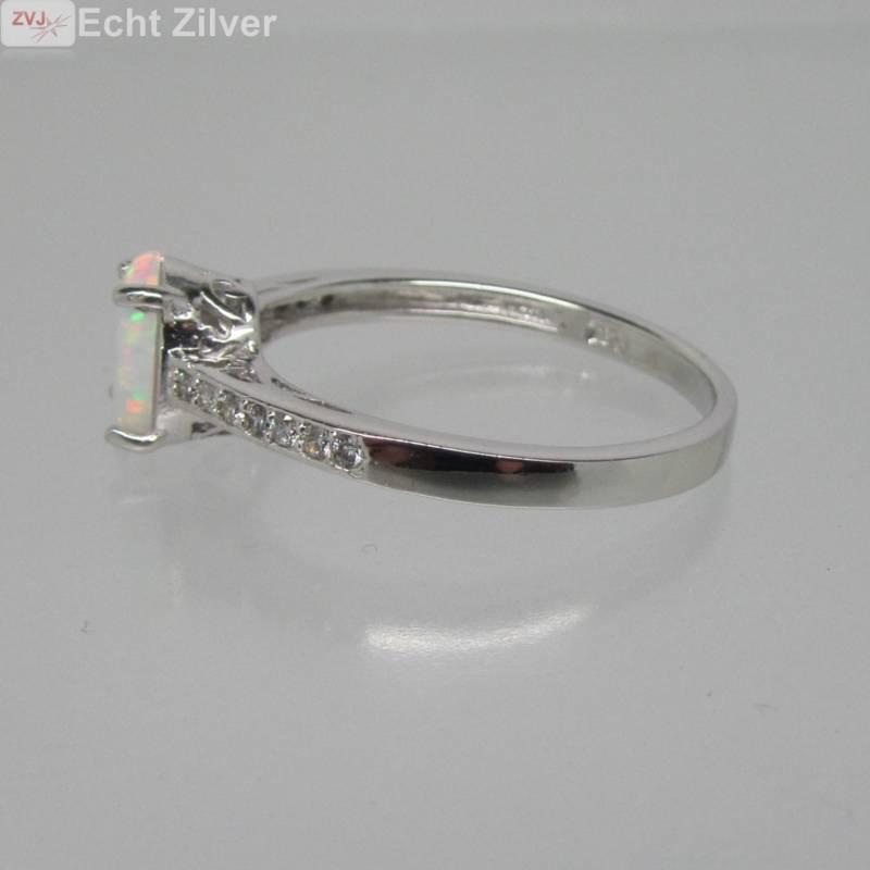 925 sterling zilveren rhodium ring ingelegd met witte opaal-5