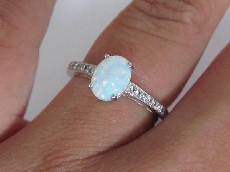 925 sterling zilveren rhodium ring ingelegd met witte opaal-2