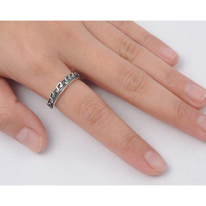 Zilveren muziek noten ring