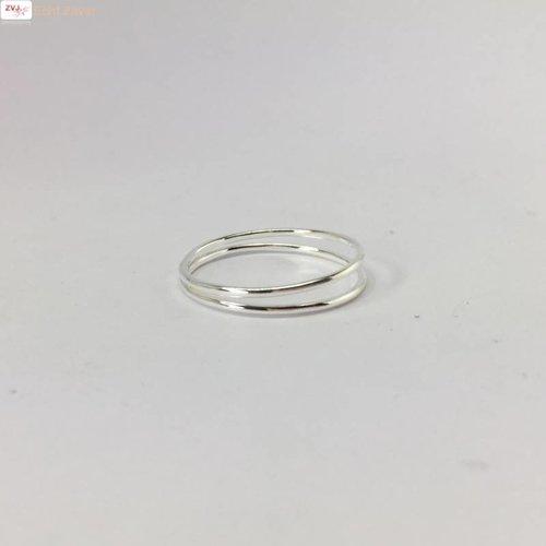 ZilverVoorJou Zilveren fijne twee ringen ring