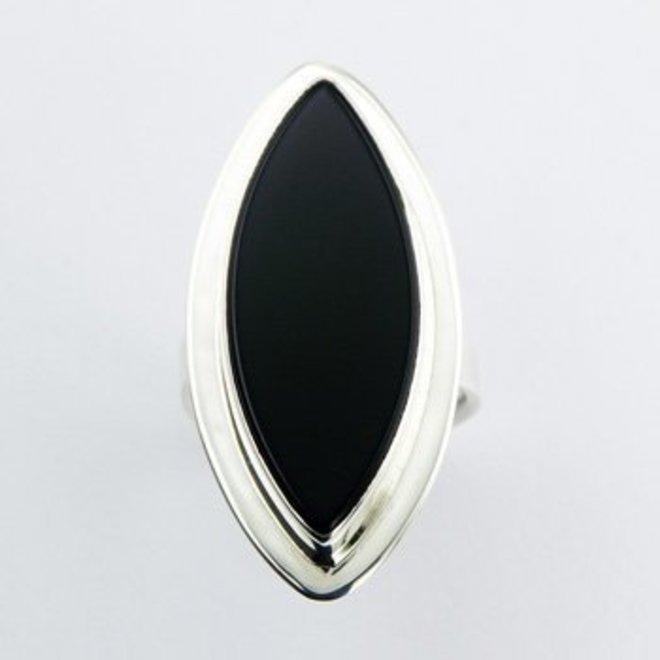 Zilveren handgemaakte grote zwarte agaat markies ring