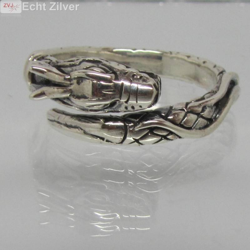 Zilveren draak ring-2