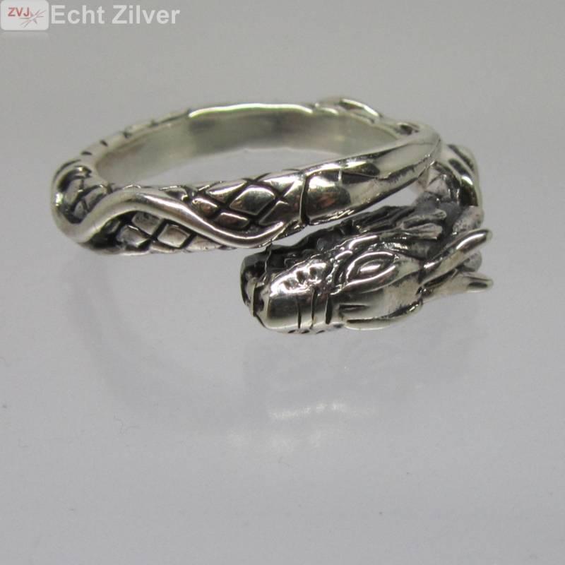 Zilveren draak ring-3
