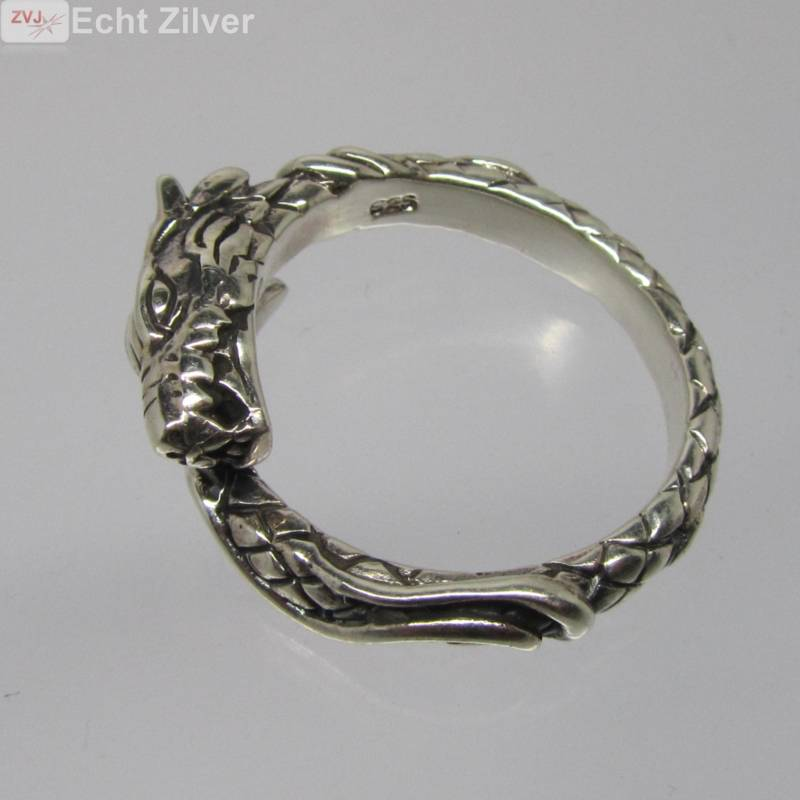 Zilveren draak ring-4