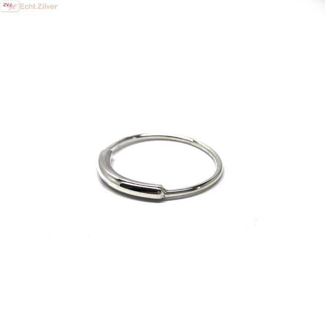 Zilveren simplistische koker ring