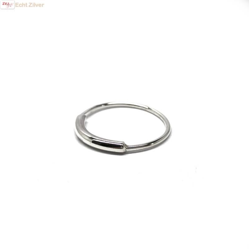 Zilveren simplistische koker ring-2