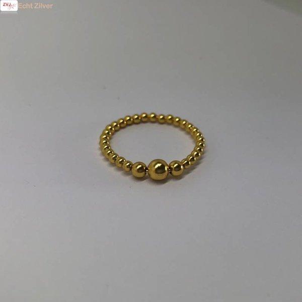 Goud op zilver balletjes ring