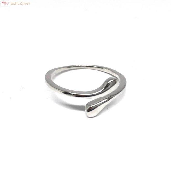 Zilveren open druppel ring