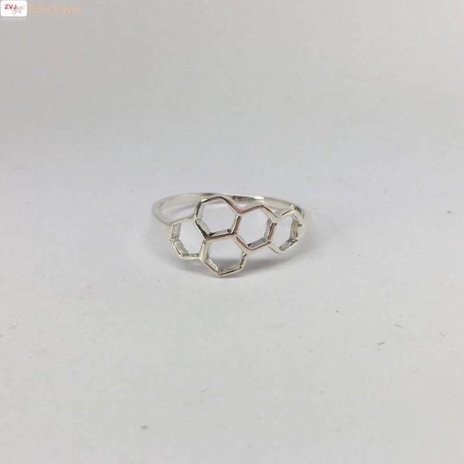Zilveren bijenraat beehive ring