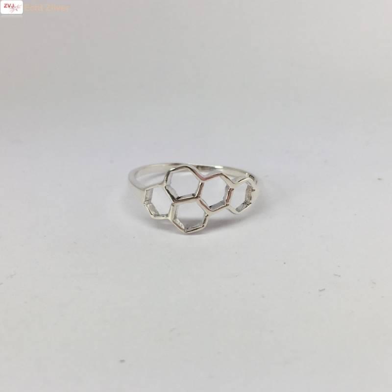 Zilveren bijenraat beehive ring-3