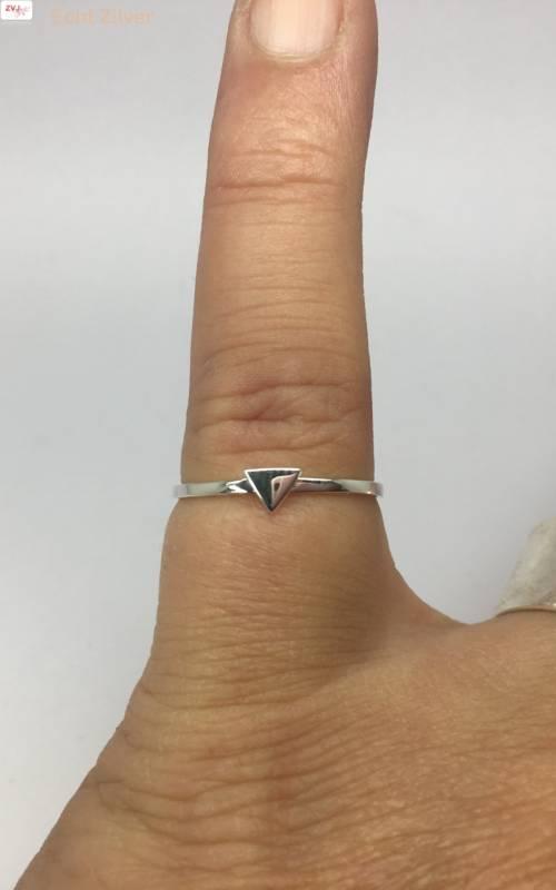 Zilveren smalle triangel driehoek ring-2