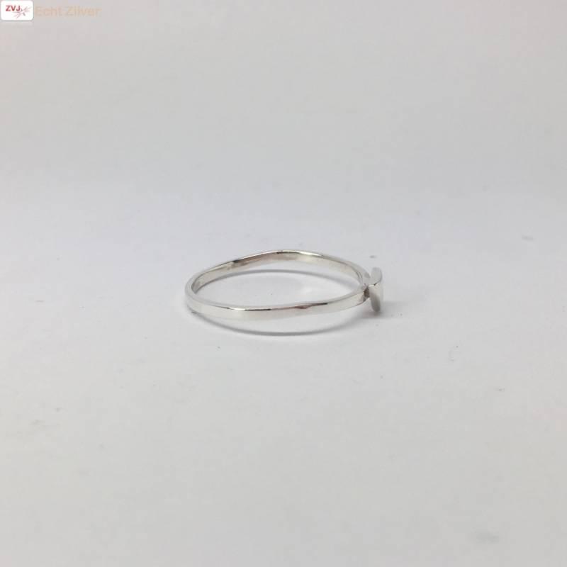 Zilveren smalle triangel driehoek ring-3