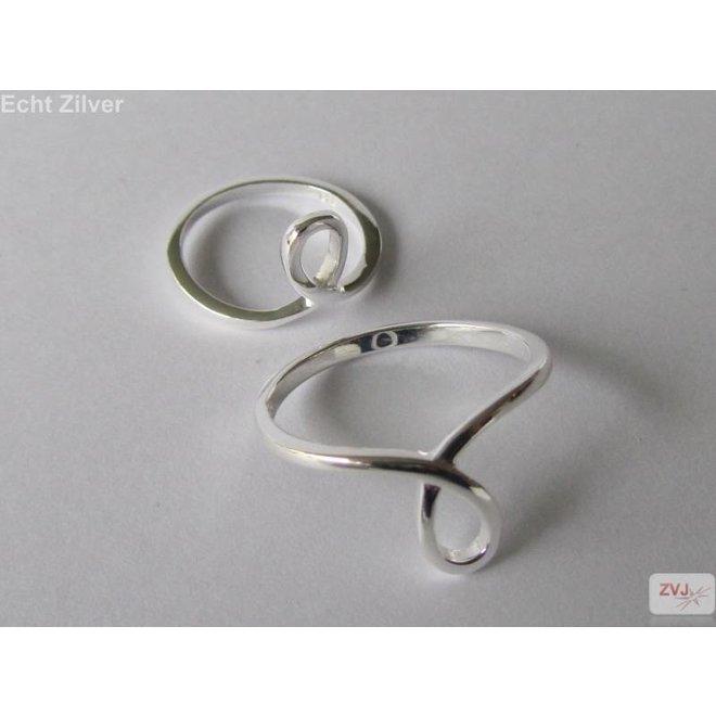 Zilveren midi knuckle lus ring set van 2