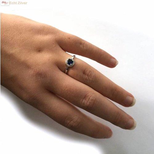 ZilverVoorJou Zilveren diana ring met ronde blauwe saffier zirkoon