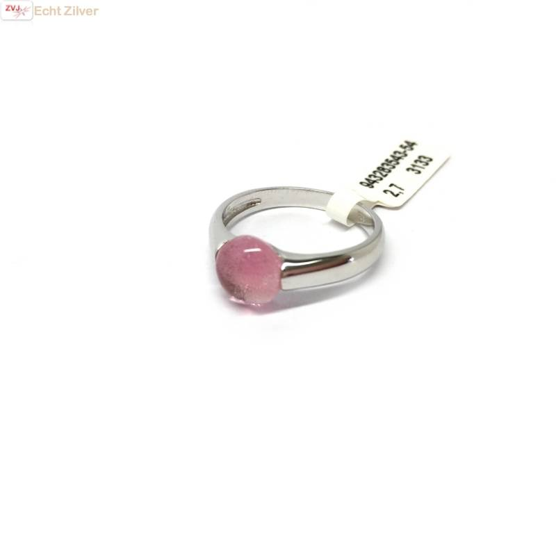 Zilveren ring Roze 8mm ronde glassteen New Bling-3