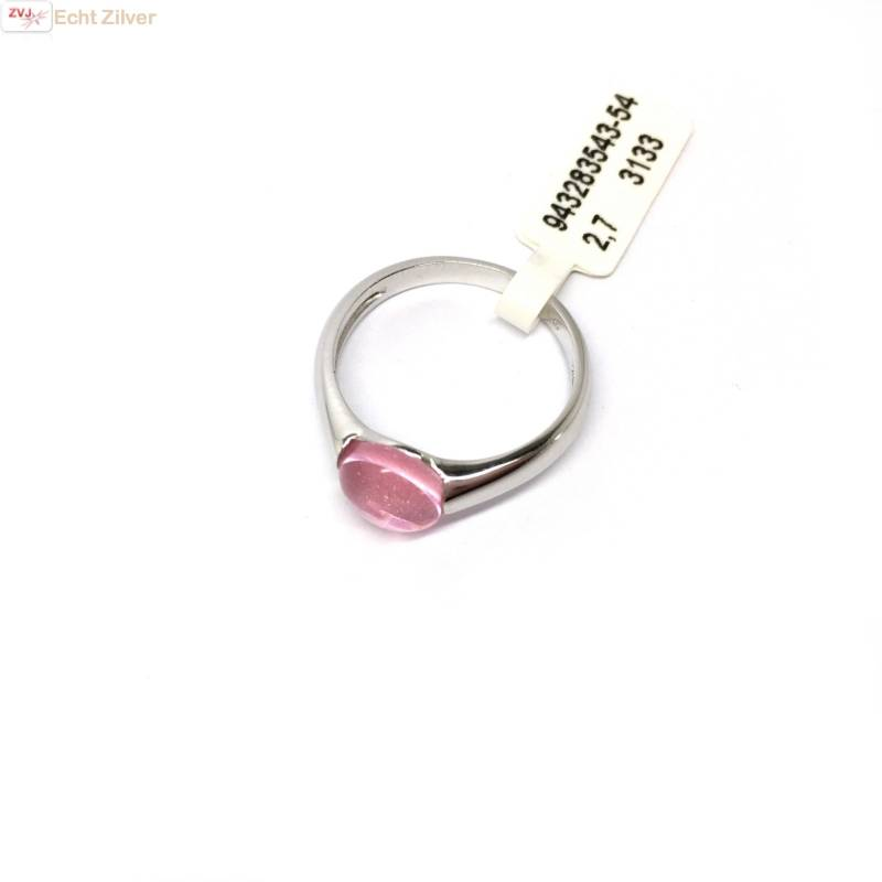 Zilveren ring Roze 8mm ronde glassteen New Bling-4
