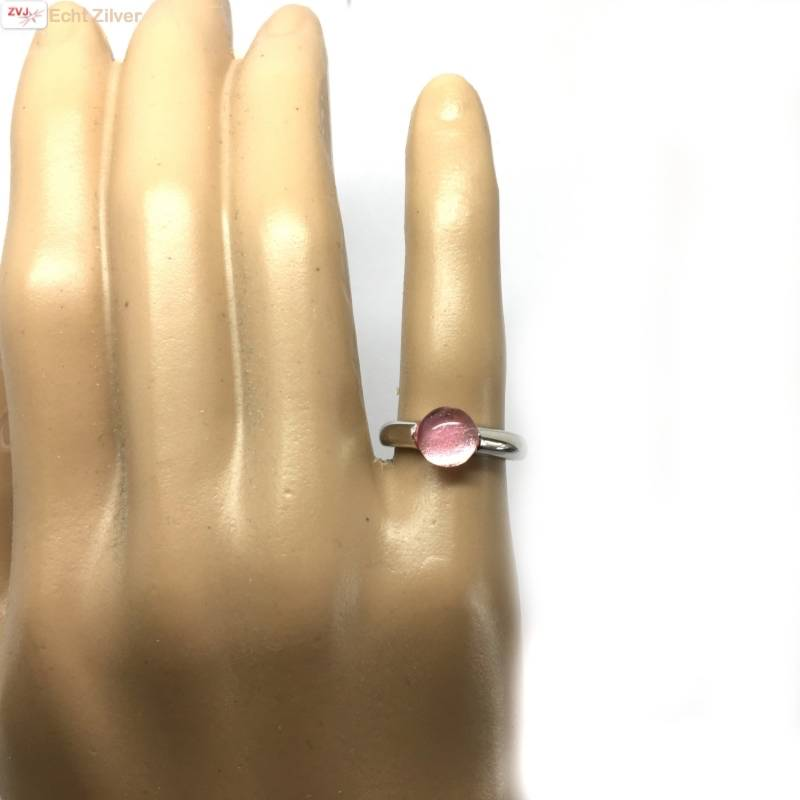Zilveren ring Roze 8mm ronde glassteen New Bling-2