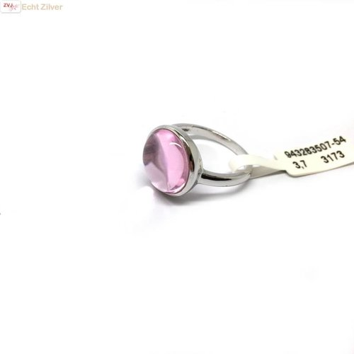 New Bling OUTLET Zilveren Ring Rhodium Roze Rond glassteen
