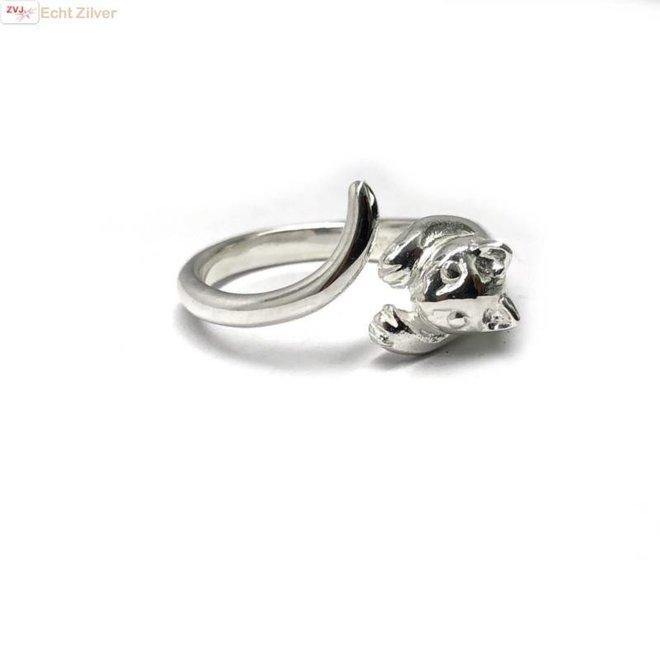 Zilveren open poes kat ring