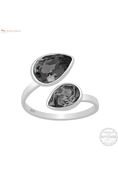 Zilveren Swarovski silver night crystal 2 druppels ring