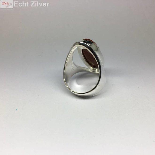 Zilveren grote gouden zandsteen ring