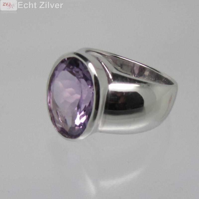 Zilveren rhodium paarse amethist ring-3