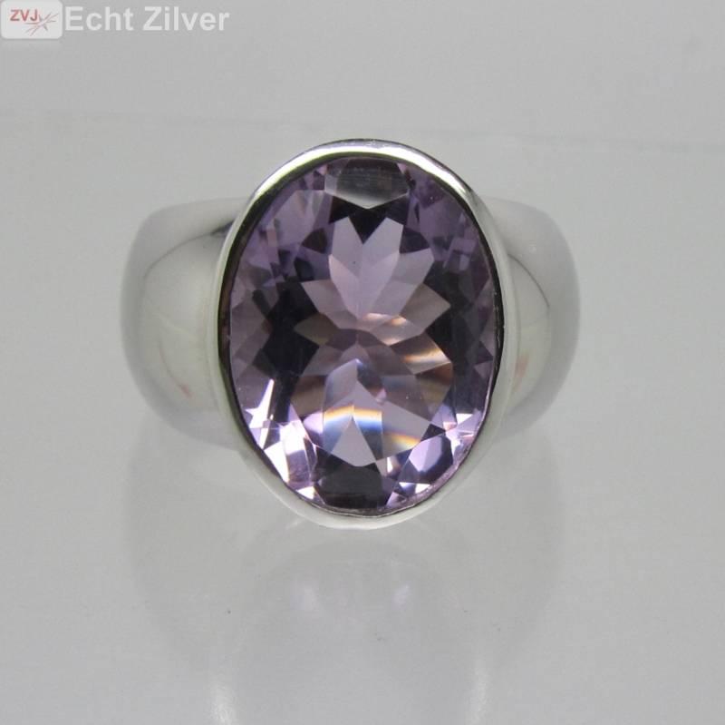 Zilveren rhodium paarse amethist ring-4